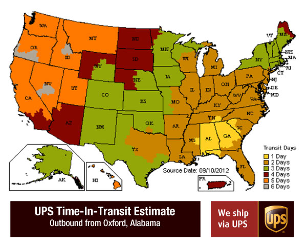 UPS time-in-transit map